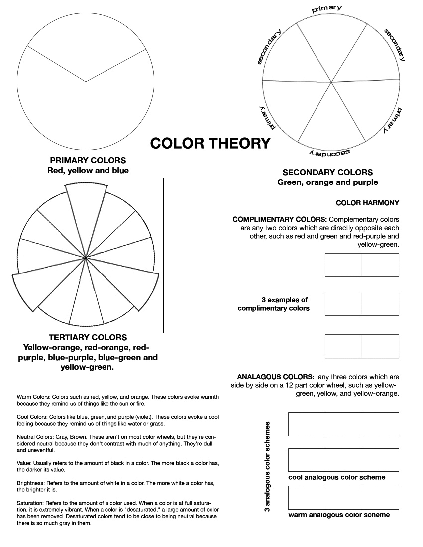 Color Wheel Worksheet When It Comes To The Try